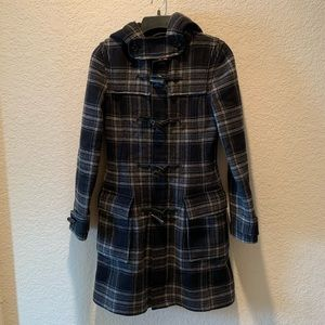 Aritzia, TNA 100% wool plaid hooded coat, size XS